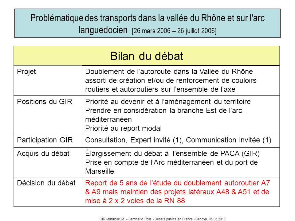 Problématique des transports dans la vallée du Rhône et sur l arc languedocien [26 mars 2006 – 26 juillet 2006]